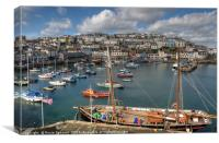 Brixham Harbour View and sailing trawler, Canvas Print