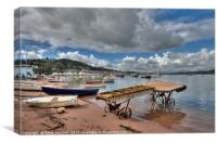 The old boat launch on Teignmouth Back Beach , Canvas Print