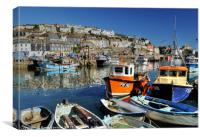 Colourful boats at Mevagissey, Canvas Print