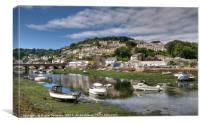 Sleepy low tide morning on the Looe River, Canvas Print