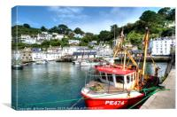 Fishing boats at Polperro Harbour , Canvas Print