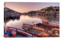 Sunset on The River Looe in South East Cornwall, Canvas Print