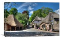 The Old Forge and Thatched Cottages at Cockington , Canvas Print
