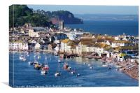 Teignmouth Back Beach and Town viewed from Shaldon, Canvas Print