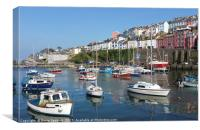 Colourful boats and houses at Brixham Harbour, Canvas Print