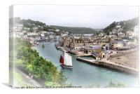 A vintage type view of  Luggers on the River Looe, Canvas Print