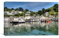 Reflections at Polperro Harbour in Cornwall, Canvas Print