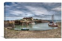 Boats and cottages at Porlock Weir in Somerset, Canvas Print