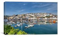 Early morning reflections at Brixham Harbour , Canvas Print