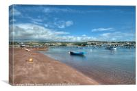 Peaceful view of  Shaldon Beach on The River Teign, Canvas Print