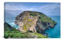 Tintagel island and castle, Canvas Print