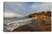 Millendreath Beach Looking towards Looe island , Canvas Print