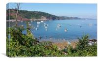 Busy day in Babbacombe Bay Torquay, Canvas Print