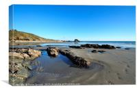 Millendreath Beach and Black Rock at low tide, Canvas Print