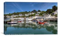 Reflections at pretty Polperro Harbour in Cornwall, Canvas Print
