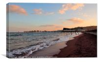 The sun sets over Teignmouth Pier in South Devon, Canvas Print
