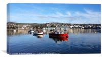 Calm day on the River Teign viewed from Shaldon , Canvas Print