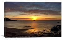 Sunrise over Black Rock at Millendreath Beach Looe, Canvas Print