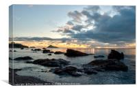 Sunrise at Meadfoot Beach Torquay , Canvas Print