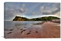 Teignmouth Beach looking towards the Ness Headland, Canvas Print