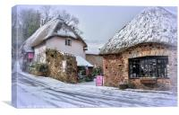 Snowy day at Cockington Village in Torquay, Canvas Print