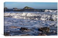 Waves roll in at Meadfoot Beach Torquay, Canvas Print