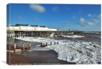 Rough seas by the pier on Teignmouth Beach , Canvas Print