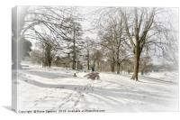 Snowy day at Cockington Country Park in Torquay, Canvas Print