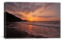 Sunrise on Looe Beach in South East Cornwall, Canvas Print