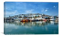 Reflections at Brixham Harbour, Canvas Print