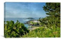 View of The Looe island and The Banjo Pier , Canvas Print