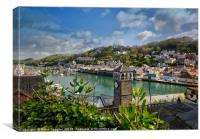Looking down on The River Looe over the roof tops , Canvas Print