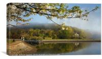 Misty springtime morning at the Millpool in Looe, Canvas Print