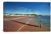 Teignmouth Beach in South Devon at low tide , Canvas Print