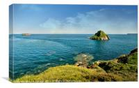 Thatcher Rock and the Orestone in Torquay, Canvas Print