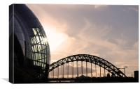 Newcastle Quayside Sunset, Canvas Print