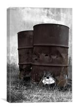Rusty oil drums in the dark, Canvas Print