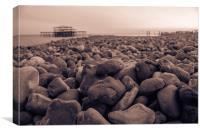 Brighton Pebbles and Pier, Canvas Print