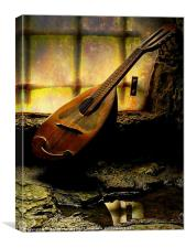 Antique Mandolin In The Castle Window, Canvas Print