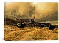 Baling At Berry Farm, Scalloway, Shetland., Canvas Print