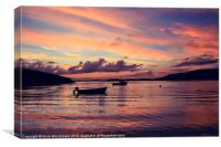 Small Boats In Shetland Sunset, Canvas Print