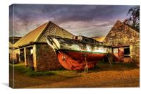 Old Boat and Farm Buildings, Canvas Print