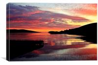 Sunset Over Port Arthur Scalloway, Canvas Print