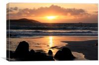 Sunset At Meal Beach Shetland, Canvas Print