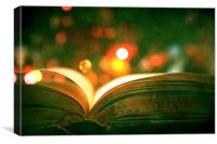 Open Book With Lights Bokeh, Canvas Print