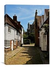 Looking up the street to St. Mary's church in Rye, Canvas Print