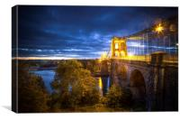Menai Bridge at Night, Canvas Print