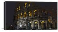 Cartoon Colosseum by Night, Canvas Print