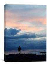 Sunset Fisherman Silouette, Canvas Print