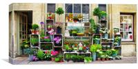 Bath Flower Shop in Oils, Canvas Print